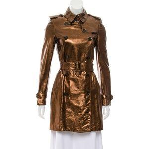 Burberry Metallic Bronze Leather Trench Coat